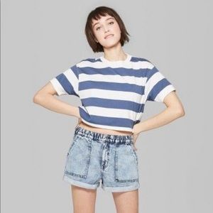 Blue/ White Striped Cropped Tee